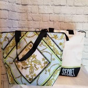 Victoria's Secret Tote + Cooler 2 in 1 Bag Set New